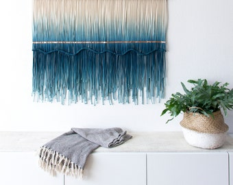 """Large Macrame Wall Hanging - Macrame Wall Art- Macrame Curtain- Wall Tapestry- Color Dyed Tapestry- Rope Wall Hanging - Macramé - """"SEA VIEW"""""""