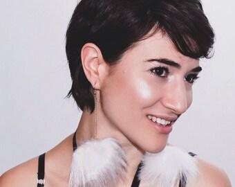 The Roxxy | White faux fur pom pom earrings