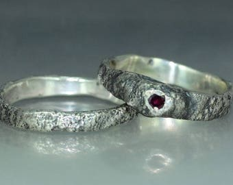 A handmade  Silver Ruby Wedding Band Organic Wedding Ring Wedding Ring Rustic Silver Wedding Ring
