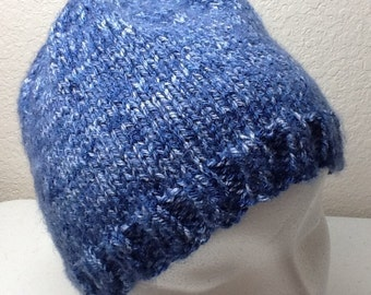Hand Knitted Hat Blue Child to Adult size