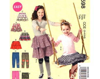Girls Skirt & Leggings Pattern McCalls 6598 Tiered Ruffle Skirt Pull On Cropped or Long Legging Pants Girl Sewing Pattern Size 3 4 5 6 UNCUT