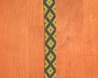 Greens & Brown Loom Beaded Bracelet
