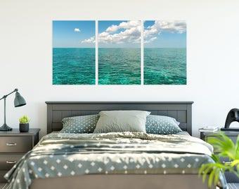 Caribean Beach and Sky in Wall Triple Photo Split on Canvas (2 Sizes)