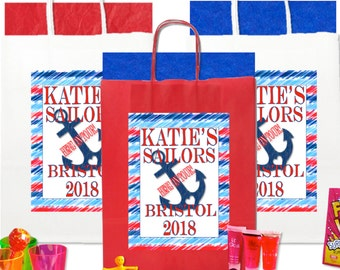 Create your own hen party bag personalise and add any 5 items per bag purchased SAILOR ANCHOR DESIGN