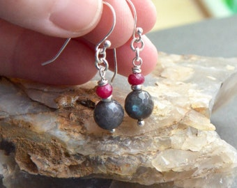 Labradorite and Ruby Gemstone Earrings, Sterling Silver, Ruby Drop Earrings, July Birthstone, Labradorite Beads, Blue Flash, Faceted Stones