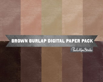 Brown Digital Paper Download - Burlap Texture Background Images for Commerical Use