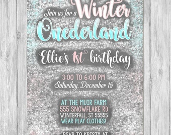 Winter Onderland Invitation Birthday | Chalkboard | First Birthday Party Invite | First Birthday | Printable Invite | Winter Wonderland