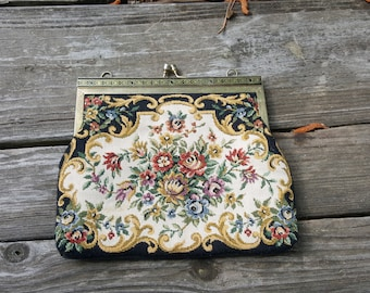Vintage Floral Tapestry Clutch - Purse Handbag - Colorful Flowers - Snap Closure