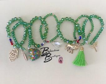 Semanario Bracelets de cristal checo con corazon de cristal