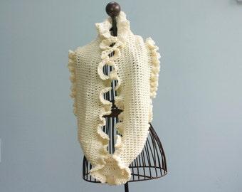 Circle Scarf Crochet  Pattern, Cowl Ruffle Scarf Pattern, Instant Download Infinity Scarf,   PDF Pattern