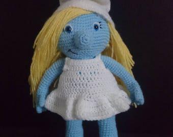 Stuffed crocheted smurfette