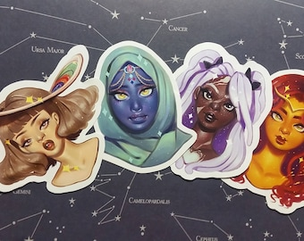 Waterproof or Holographic Space Girls Sticker Pack Set of 4 Saturn, Pluto, Mercury, Sun