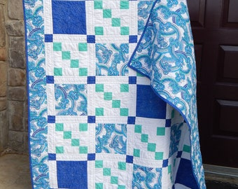 Modern Quilt, Lap Quilt,  Teal Quilt, Blue Quilt, Custom Quilting, Handmade Quilts for Sale, Homemade Throw