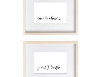 Mine Yours Wall Art Set - Fifty Shades of Grey - Typographic Art - Calligraphy