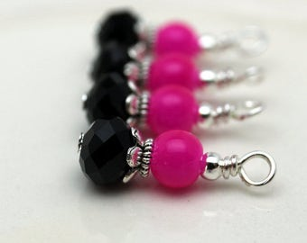 Fuschia Pink and Black with Silver Bead Dangle Charm Drop Set, Anime Charm, Girls Necklace Pendant, Pink Dangles