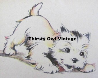 Digital Download, Vintage Puppy Images, 1940's Puppy Illustrations, Terrier Puppy Images, Printable Images, Scrapbooking
