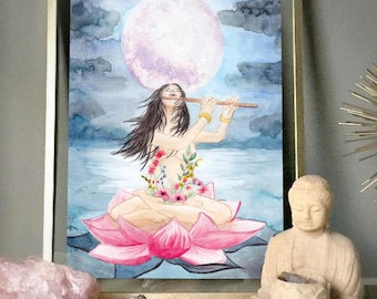 "Print 21 x 30 A4 Illustration sacred feminine watercolor ""Sacred feminine"" • • • High quality 220gr • Watercolor illustration design"