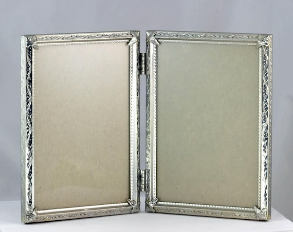 Vintage Silver Colored Metal Double Bi Fold Photo Picture Frame ...