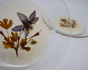 Set of 3 Beautiful Dry Flower Clear Glass Plates