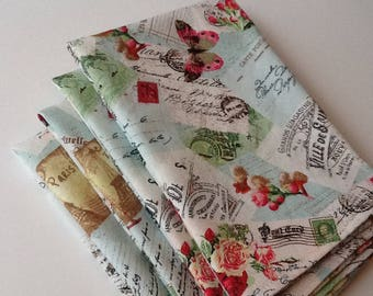 "Vintage Paris Old World Travel, 14""x14"" Cotton Napkins, Set of 4"