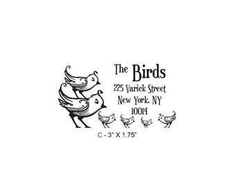May Sale Birdies Family Return Address Custom Rubber Stamp Birdie C