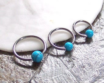"""Triple Helix - Tragus - Cartilage - SET of 3 - 18G 16G 14G - ONE of Each 1/4"""" - 5/16"""" - 3/8"""" - Turquoise Captive Rings - Made to Order"""