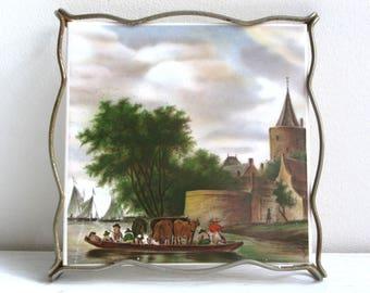 Vintage trivet with German porcelain tile, Villeroy & Boch, Trivet hot plate, Trivet for hot dishes, Vintage kitchen, Farmhouse decor