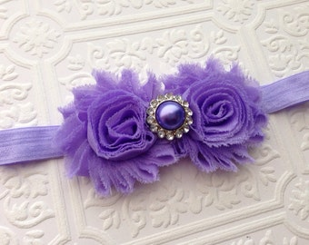 The Lavender Shabby Chic Duo Headband or Hair Clip