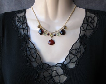 Red Chalcedony Necklace with Quartz, Garnet, Gold Filled, Wire Wrapped