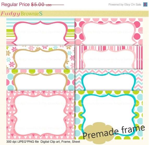 ON SALE premade framepremade cards tea party invitesFrames