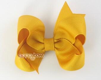 Mustard Hair Bow - girls hair bows - toddler hair bows - 3 inch bows - 3 inch hair bows - girl bow - baby hair bow - non slip - boutique bow