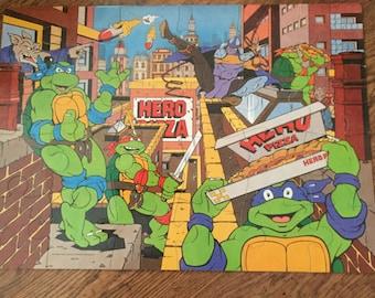 Vintage children's teenage mutant hero turtles giant 24 piece floor puzzle