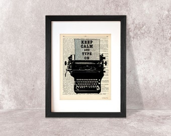 Typewriter print-Retro Typewriter print-Typewriter on book page-Keep calm print-dictionary Typewriter-gift for writers-NATURA PICTA-DP012