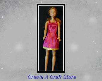 Fashion Doll Dress Only/Fashion doll/dress/pink/yellow/short/satin/doll/Barbie dress/Barbie outfit/Barbie clothes/Barbie fashion/little girl
