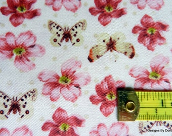 """One Fat Quarter Cut Quilt Fabric, Pink/Burgundy Flowers, Butterflies, Cream, """"Love and Kisses"""", Windham Fabrics, Sewing-Quilting Supplies"""