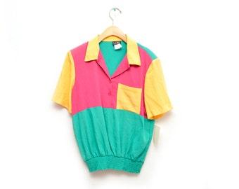 80s Color Block Pocket Shirt Women's NOS Dead Stock Large 14 Short Sleeved