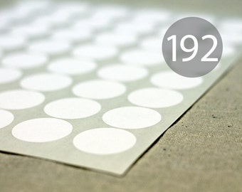 """192 White Circle Stickers - 4 Full Sheets of 1.2"""" Round Labels"""