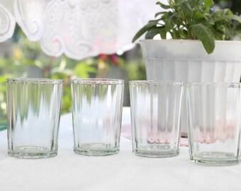Set of 4 Vintage Soviet drinking Glasses Set Cute USSR clear glasses Drinking Glasses vodka glasses kit 1980's cottage decore 80's