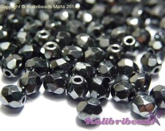 Fire polished Czech Glass Beads 4 mm - Hematite