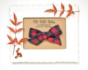 Red Green Plaid Schoolgirl Bow -Flannel Hand-tied hair bow-Evy bow -Cotton Baby Headband-Newborn Hairbow -Nylon Headband - Toddler Hair Clip