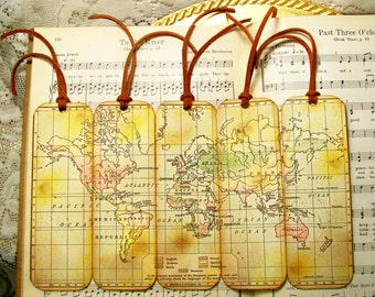 Bookmark with map etsy historical world map bookmarks bookmark for man world languages set of 5 historical gumiabroncs Gallery