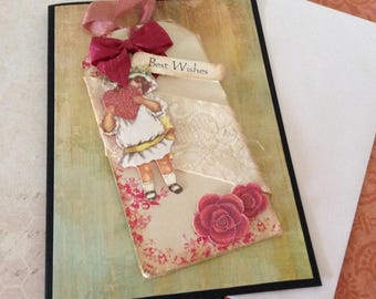 Handmade Shabby Chic Collage Greetings Card with Cream Insert, plus envelope