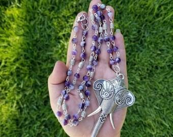 Amethyst Elephante Necklace