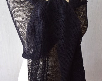 Black Linen Shawl Lace Scarf Knitted Natural Summer Flax  Wrap Women Accessory