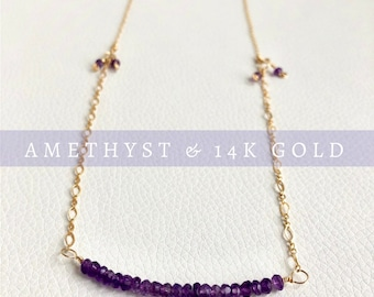 February Birthstone, Amethyst and Gold Necklace, Amethyst Bar Necklace, Purple Gemstone Necklace, One of a Kind Jewelry, Statement Necklace