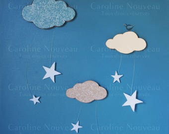 Painting 40 x 40 sky with clouds decor lace - Carolina new stars