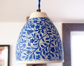 Lamp, Hanging on Cloth Covered Cord, Handmade and Hand Carved in Blue and White with Animals and Flowers