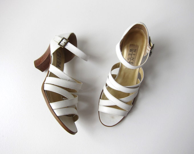 Nine West Strap Sandals   90s Soft White Leather Pumps   Strapy Peep Toes High Heels   Vintage Buckled Dress Up Shoes Womens 7.5