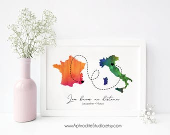 Love knows no distance -  Long distance print - Long distance boyfriend gift - Couple art print - Long distance relationship gift - LDR gift