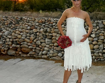 Bride Clothing-Bride Maternity One of a Kind Hand Cut Layered Fringe Charlize Circle Skirt-Chic Modern Clothes for Many Body Types-Sizes